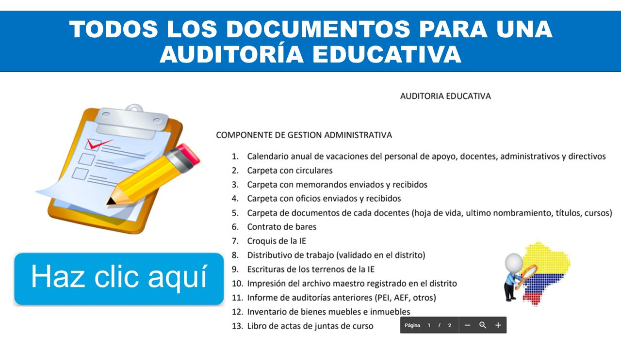 Todos los Documentos para Auditoría Educativa