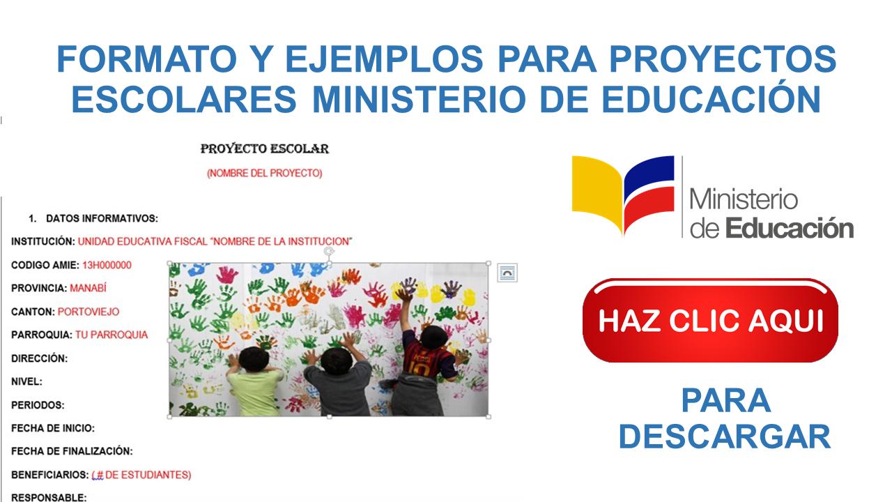 Formato Y Ejemplos Para Proyectos Escolares Ministerio De