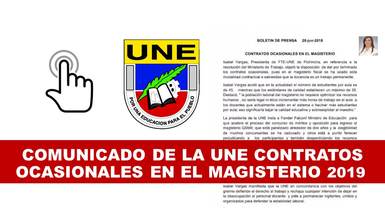 UNE lanza comunicado CONTRATOS OCASIONALES EN EL MAGISTERIO 2019