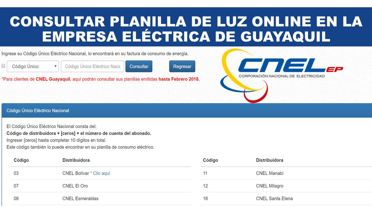 Consultar planilla de luz en Guayaquil CNEL EP