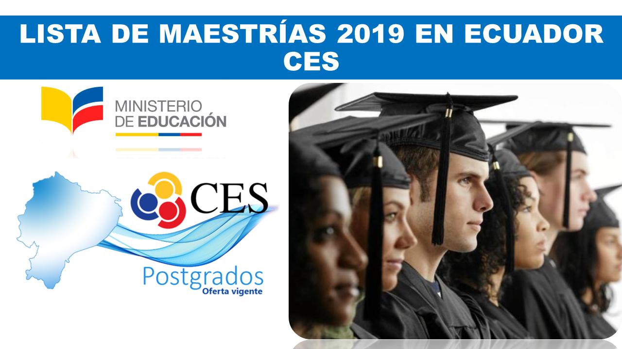 lista de maestrías 2019 en Ecuador | CES