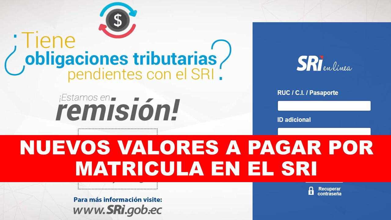 SRI Valor a pagar por Matricula ANT Ecuador