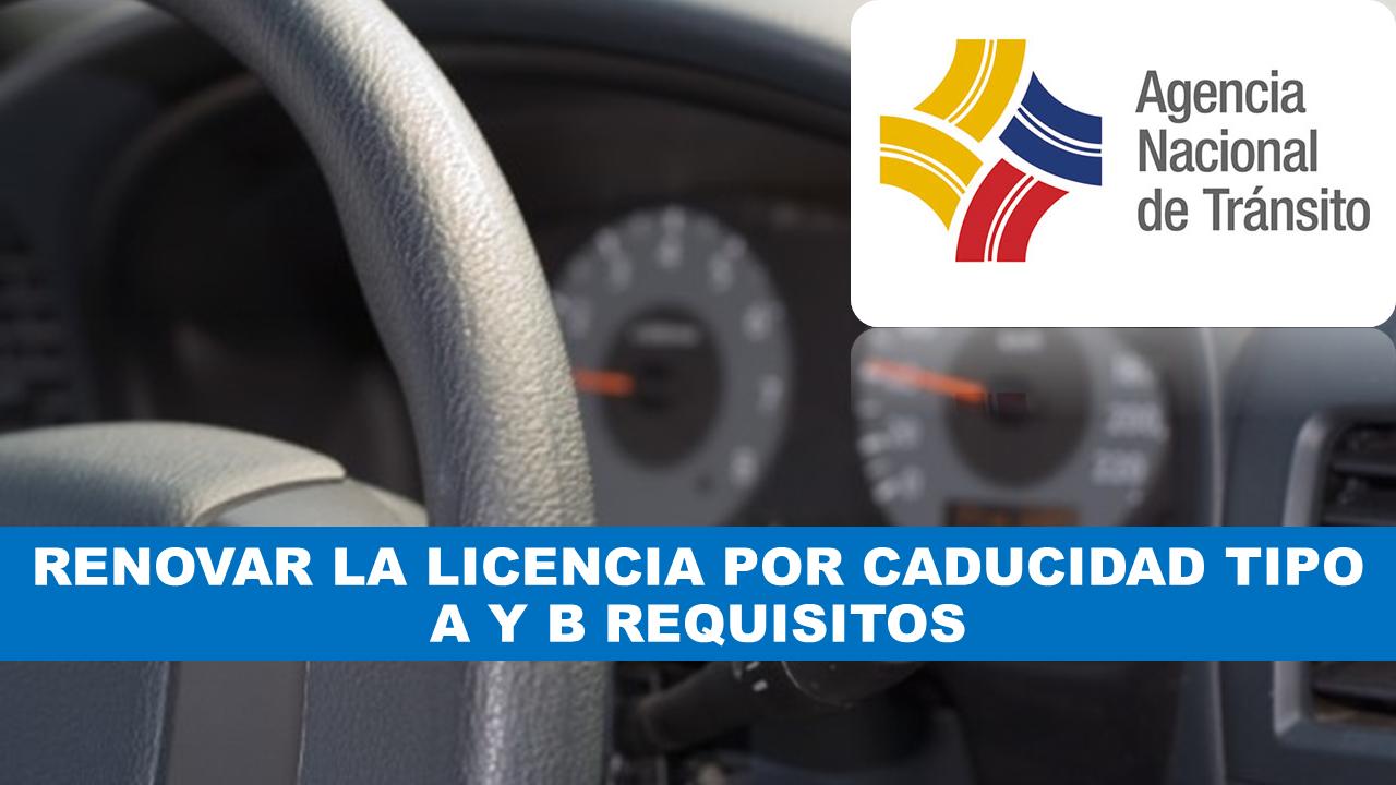 Renovar la licencia por caducidad tipo A y B requisitos